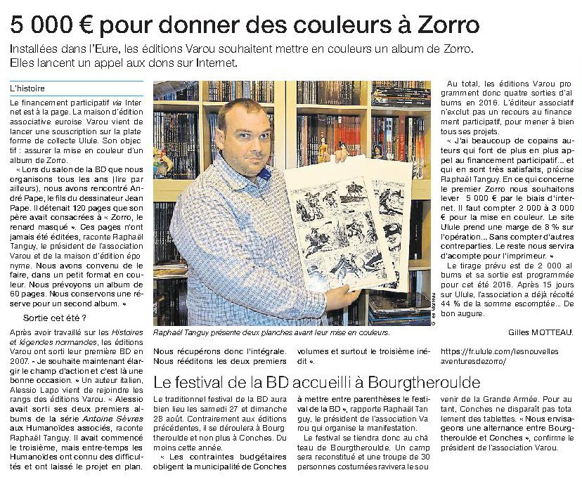 article zorro ouest france 18 mars 2016 coupé